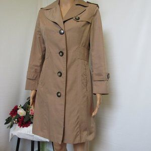 Kenneth Cole Women's Trench Coat Fitted Tan Size 6